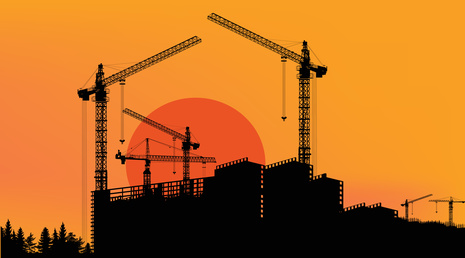 house building on yellow sunset background